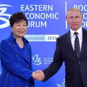 Südkoreas Ex-Präsidentin Park (li.) - Wurde sie gewulfft? (Source URG Suisse: kremlin.ru)
