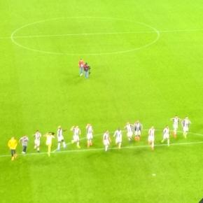 Esultanza dei giocatori della Juve a fine gara