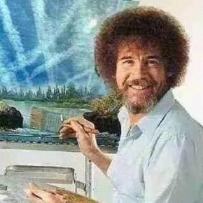Dieses Bild hat Bob Ross nie gemalt! Aber bei 91 % seiner Bilder war immer ein Baum im Bild!
