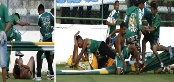 Briga generalizada marcaram o triste final da partida entre Gama e Brasiliense.