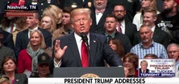 Donald Trump at rally, via Twitter