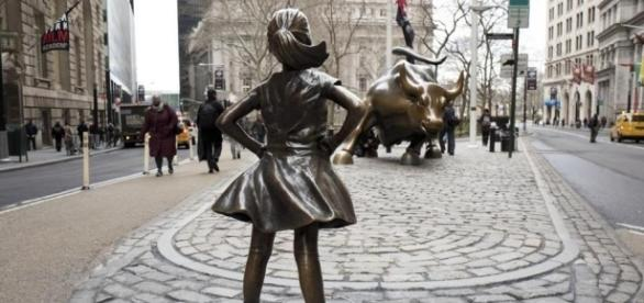The Fearless Girls by Kristen Visbal (MARK LENNIHAN/ASSOCIATED PRESS)