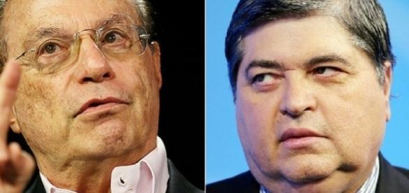 Ex-governador Paulo Maluf e apresentador José Luiz Datena dsicutem