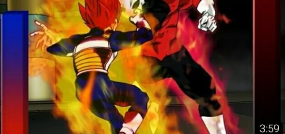 Vegeta super Sayayin dios rojo en DBS torneo del poder