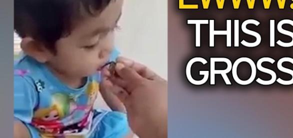 Vermi neri, lo spuntino di una bimba orientale: la clip
