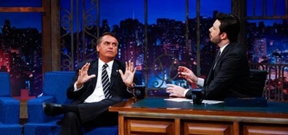 Bolsonaro no 'The Noite' (foto: Gabriel Cardoso/SBT)