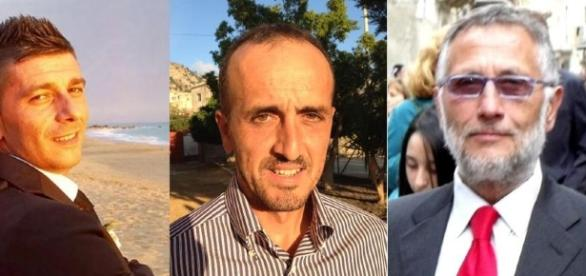 Elezioni Comunali 2017 in Sicilia, a Cattolica Eraclea 3 i candidati sindaco: da sinistra, Antonino Fanara, Santo Borsellino, Giuseppe Giuffrida