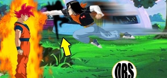 imagen donde se enfretan Goku en fase dios contra androide 17