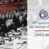 Foto storica dei partecipanti alla cerimonia di firma dei Trattati di Roma, il 25 marzo 1957 (dal sito www.europarl.it)