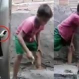 No Facebook, um vídeo que mostra um garoto feliz da vida trabalhando como auxiliar do pai