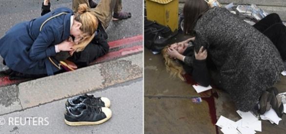 Victimele atentatului terorist sunt ajutate de către trecătoriii obișnuiți martori la tragedie - Foto: Daily Mail - © REUTERS