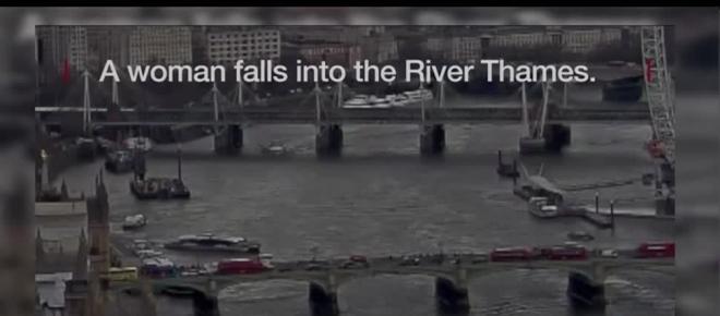 Un vídeo muestra el instante en el que un herido cae al río Támesis en Londres
