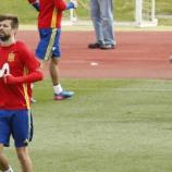 Gerard Piqué ejercitándose esta semana en Las Rozas. Foto: EFE
