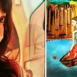 Yudi Vargas y una de sus ilustraciones