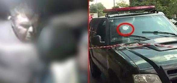 Viatura da polícia foi atingida pelo tiro