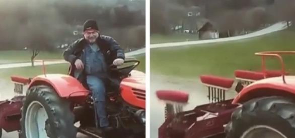 El hombre en su tractor con el nuevo invento