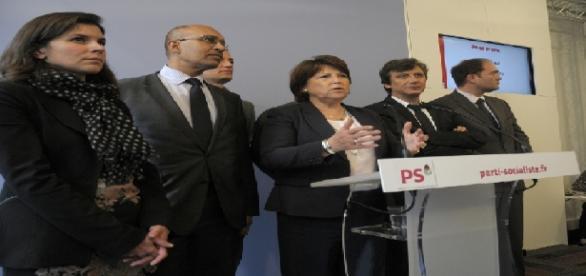 Le 22 mai 2012, Martine Aubry tient un point presse