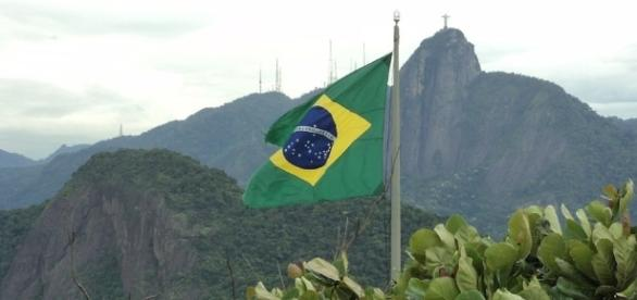 Brazil, flag and Christ the Redeemer. Caption: Free to use