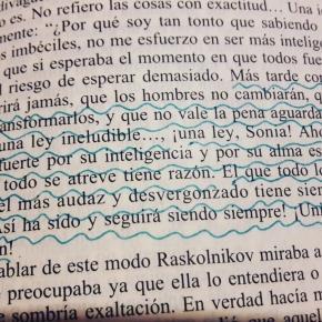 Cita de Raskolnikov declarándose culpable ante Sonia (foto propia)
