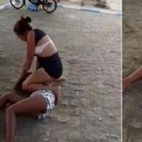 Na imagem é possível ver o momento em que a agressora bate no ventre da gestante com a intenção de machucar a criança.
