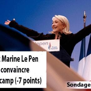 En 2016, 49% de l'opinion pensait que Marine Le Pen pouvait convaincre au-delà des adhérents et sympathisants. Elle aurait perdu sept points en un an