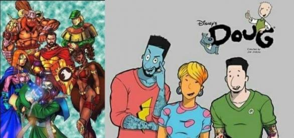 Personagens clássicos de desenhos dos anos 90 envelhecidos.