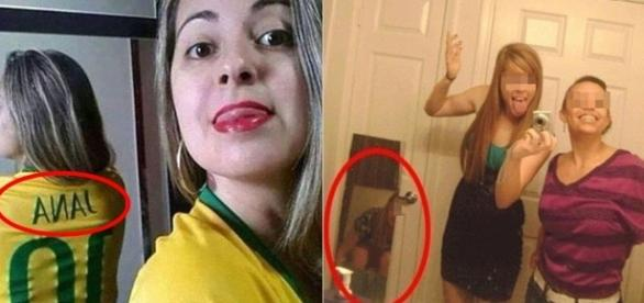 Mulheres descuidando-se na hora da foto