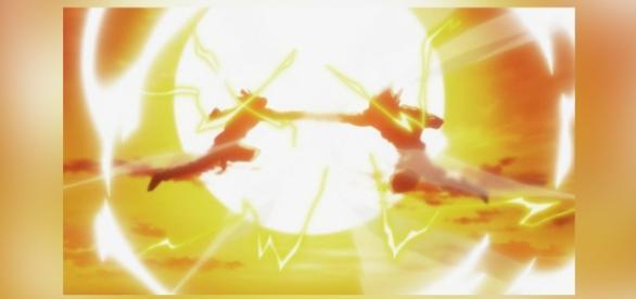 Androide 17 y Goku luchando en el capítulo 86.