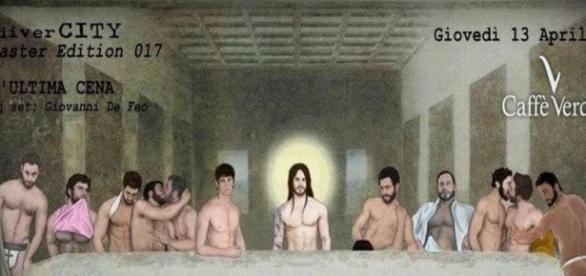 Na imagem, vários homens nus e seminus em práticas sexuais gays
