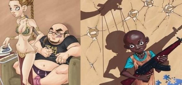 Duas ilustrações que refletem a sociedade atual.