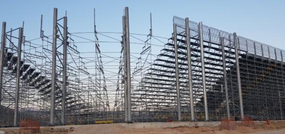 In foto i lavori in corso per la costruzione dello stadio Benito Stirpe di Frosinone