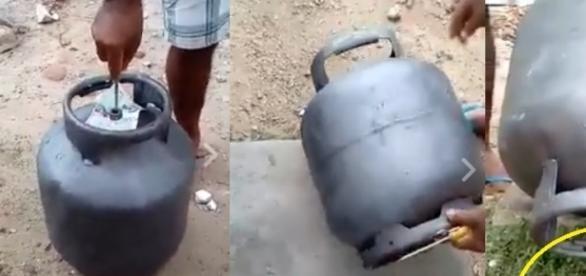 O consumidor compra o botijão de gás por um preço abaixo do mercado, mas depois descobre que ele está cheio de água. Confere a matéria e defenda-se.