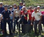 Foto finale all'Anfiteatro Romano da parte di alcuni dei volontari