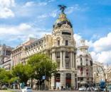 Foto de S/f Metropolis hotel in Madrid in a beautiful summer day, Spain
