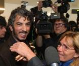 L'arrivo di Del Grande all'aeroporto di Bologna