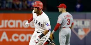 Carlos Gómez se fue de 4-4 en el partido además de tener dos anotadas. MLB.com.