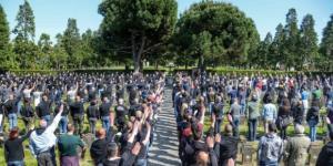Manifestazione non autorizzata con tanto di saluto romano per commemorare caduti di Salò. Foto: Facebook.