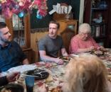 Mark Zuckerberg having dinner with Daniel and Lisa Moore in Ohio.