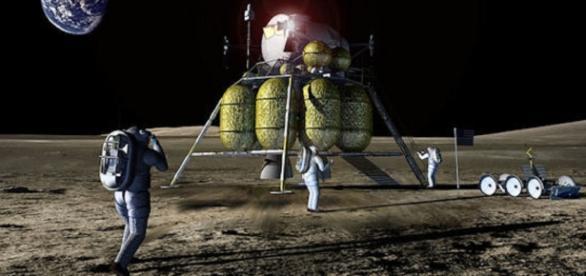Future astronauts on the lunar surface (NASA)