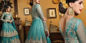 elegant blue. Royal queen look ankle-length skirt(lehenga) and elegant jacket suit