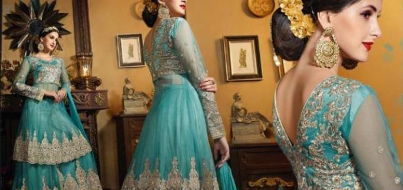 elegant blue. Royal queen look ankle-length skirt(lehenga) and elegant jacket suit