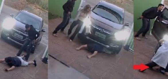 Homem é atropelado por bandidos com seu próprio veículo e câmeras registram tudo