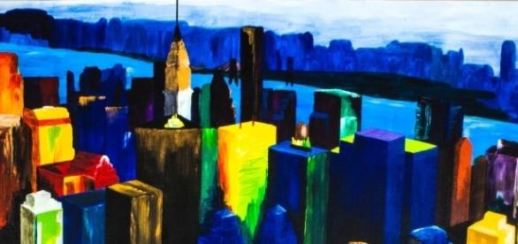 Pako's art can be described as abstractedly rendered urban landscapes. / Photo via Pako Campo, used with permission.