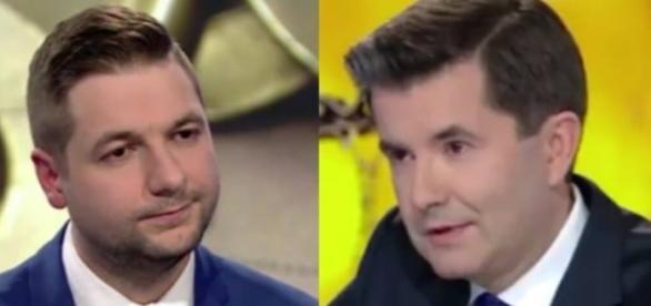 Wiceminister Patryk Jaki w programie Piotra Marciniaka (fot. TVN24, FB)