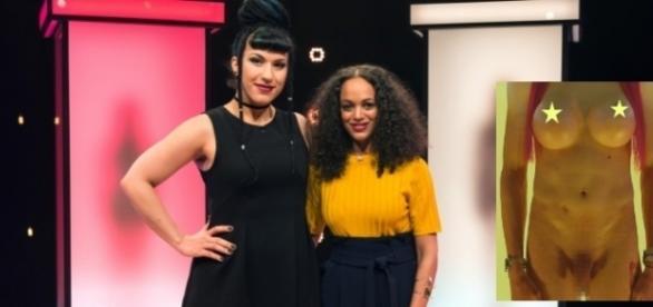 Single Andrea (li.) bekommt von Moderatorin Milka Loff Fernandes wieder nackte Kandidaten präsentiert / Fotos: RTL2 (Montage)