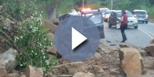 Família escapa de ser esmagada por pedras, em Santa Catarina