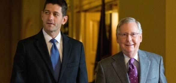 Congress: House Speaker Paul Ryan (left), Sen. Majority Leader Mitch McConnell (right) / Photo by politico.com via Blasting News library