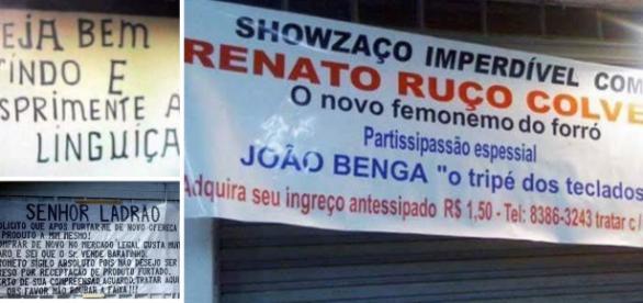 Placas bizarras espalhadas pelo Brasil.