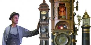 Roger woods creates clocks and whimsical sculptures out of found objects. / Photo via Roger Wood, used with permission.