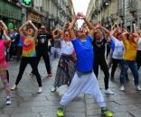 Giornata Nazionale del Naso Rosso, Torino, 2017, flashmob 'Partiti Adesso' Giusy Ferreri